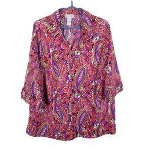 Catherines Plus Size Button Down  Blouse Paisley